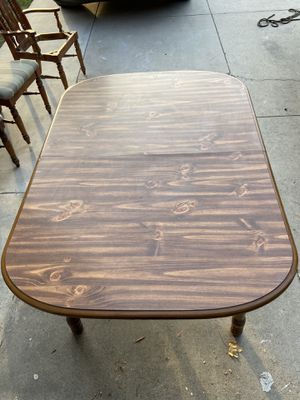 Wooden table with 3 chairs and leaf for Sale in Long Beach, CA