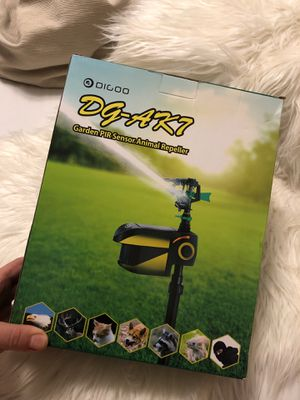 DIGOO AK7 2 in one Water Sprinkler Animal Repellent, 360° Adjustable Spraying Coverage, 30 feet 120° PIR Sensor Movement Detection, Build-in 800mAh S for Sale in Highland Hills, OH