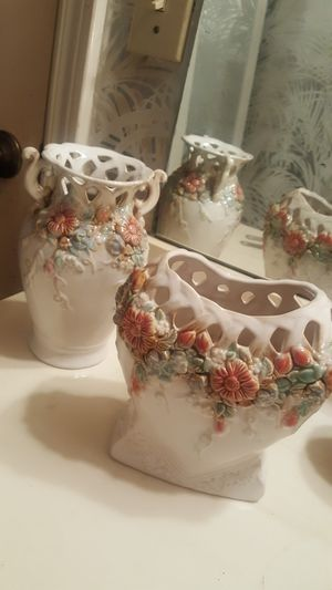 2 Raised Floral Cutout Detail Vases for Sale in Houston, TX