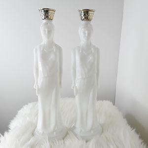 Avon milk glass decanter bottles roman woman statue for Sale in Homestead, FL
