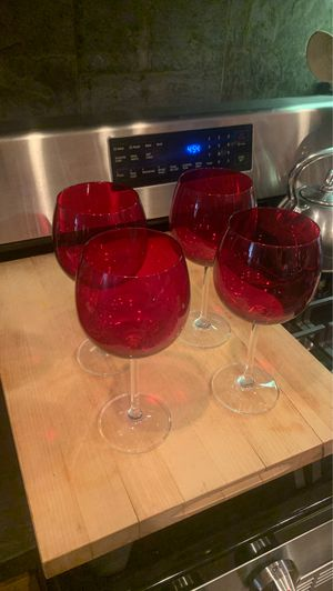 4 beautiful red glass wine glasses for Sale in Beverly Hills, CA