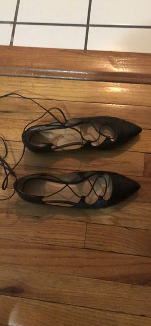 Banana Republic black leather lace-up ballet flats -size 8 1/2 for Sale in New York, NY