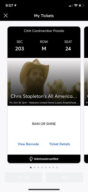 Chris Stapleton concert ticket for 10/18 at Virginia Beach Ampitheatre for Sale in Virginia Beach, VA
