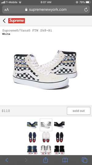 Supreme white checkered vans high tops FTW size 10 for Sale in South Gate, CA