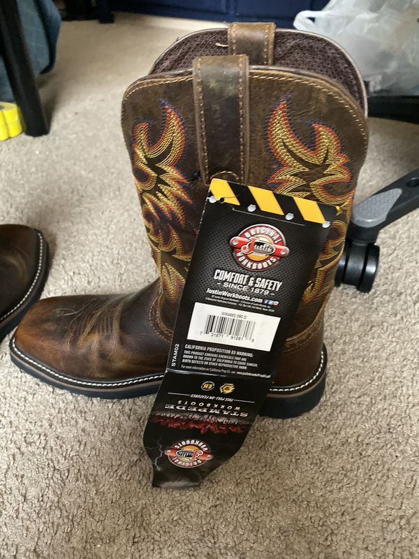 New Justin steel toe work boots size 9D