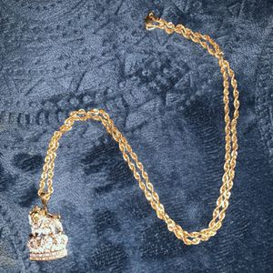 10k Gold Rope Chain W .33ct SI Diamond Lion Pendant for Sale in Riverside, CA
