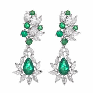 18K White Gold Diamond and Emerald Drop Earrings for Sale in Los Angeles, CA