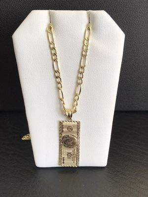 10k Real Gold Figaro Pave with Dollar Pendant for Sale in Irvine, CA