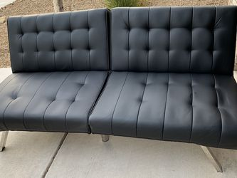 Tufted Split Back Futon Sofa, Black Faux Leather for Sale in Henderson,  NV