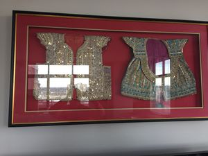 Antique wedding dresses hand crafted and embroidered in a framed box under glass 25 in X 48 in for Sale in Rockville, MD