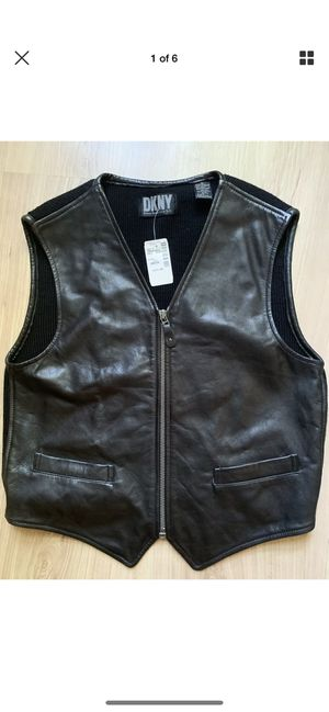 DKNY Women's medium brand new leather vest 275.00 value for Sale in Olney, MD