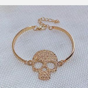 gothic hand made fine gold sugar skull Cuff Bangle Bracelet Jewelry Hallowmas for Sale in Green Valley Lake, CA