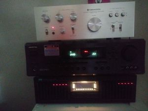 Onkyo receiver Kenwood stereo integrated amplifier and Sansui stereo graphic equalizer for Sale in Bakersfield, CA