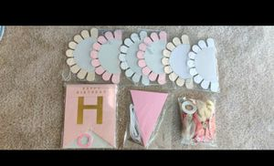 Rose Gold Birthday Decoration for Women&Girls, Pink Birthday Party Supplies with Happy Birthday Banner,Triangle Sign,Rose Gold Balloons&Pom-pom for Sale in NO POTOMAC, MD