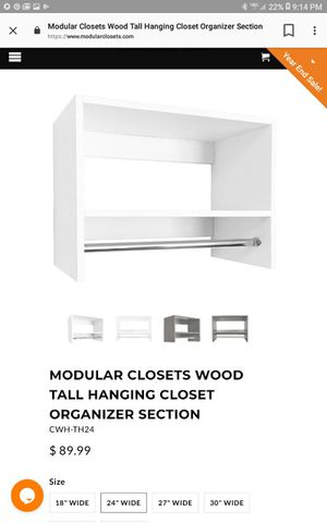 "24"" tall hanging unit closet organizer for Sale in Bedford Heights, OH"