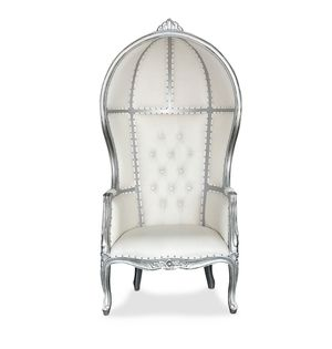 Free nationwide delivery | silver white porter dome canopy balloon bonnet chairs throne king queen princess royal baroque wedding event party photogr for Sale in Detroit, MI