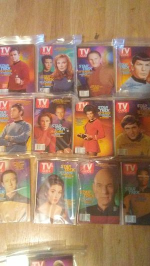 Collection of 35 tv guides with star trek on the cover and article inside for Sale in New Milford, CT