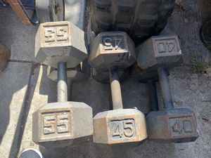 Ex dumbbells pairs of 55,45,40 FIRM PRICE for Sale in Fullerton, CA