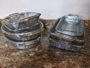 PYREX GLASS PANS AND METAL WICKER for Sale in Miramar, FL