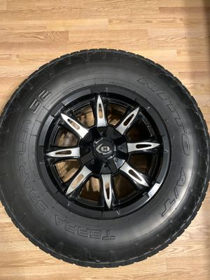 Set of 4 Black milled rims, 17s with tires $800. Obo for Sale in Pumpkin Center, CA