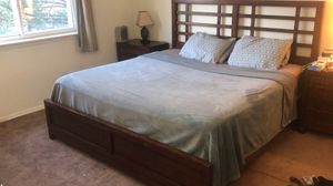 King size bed, frame, two matching bedside tables and dresser drawers for Sale in Willow Grove, PA