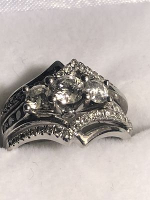 Wedding ring double man and woman set in side of it says past present future for Sale in Haines City, FL