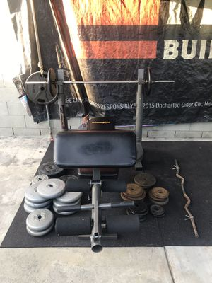 Bench press and 300lbs weight set. for Sale in Rosemead, CA