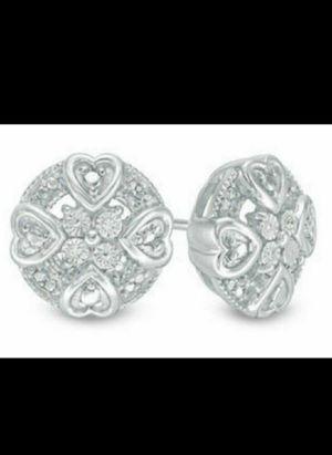 Brand New Genuine Diamond Round Mini Hearts Earrings. for Sale in Mesa, AZ