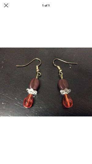 """Crown Royale"" Red & Brown Glass Bead Handmade COFFEE BEAN Dangle Hook Earrings for Sale for sale  Portland, OR"