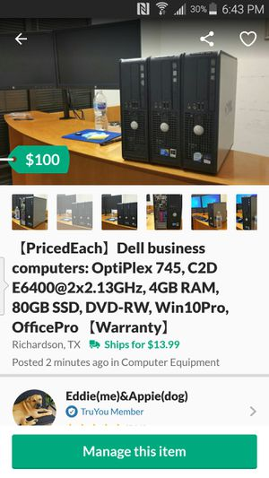 【PricedEach】Dell business computers: OptiPlex 745, C2D E6400@2x2.13GHz, 4GB RAM, 80GB SSD, DVD-RW, Win10Pro, OfficePro 【Warranty】 for Sale in Richardson, TX
