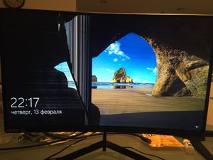 "Sceptre 24"" Curved 144Hz Gaming LED Monitor Edge-Less AMD HDMI, broken display - for parts for Sale in Hollywood, FL"