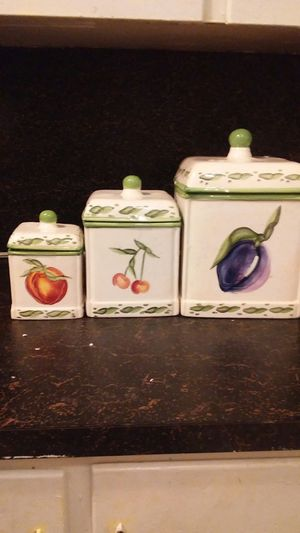 Vintage set(3) Ceramic Fruit Kitchen Canisters for Sale in Milton, PA
