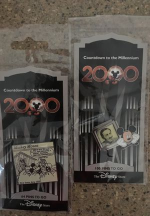 disney trading pin countdown to the millenium MICKEY MOUSE & WALT - 65 & 101 for Sale in Snohomish, WA