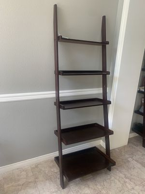 2 Piece Leaning Ladder Book Shelf Set - Dark Brown for Sale in Windsor Hills, CA