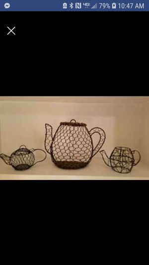 Unusual Black Wire Tea Pot Collection Set for Sale in Jackson, MS