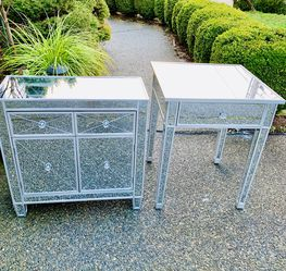 Beautiful Mirrored/ Wooden Silver Cabinet/ Nightstands/ Dressers (Like New Condition) $250 Cabinet / $125 Nightstand for Sale in Renton,  WA