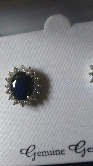 Genuine saphire ni box diamond surround earrings for Sale in Joliet, IL