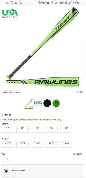 Baseball bat rawlings threat 27/15 for Sale in Gibsonton, FL