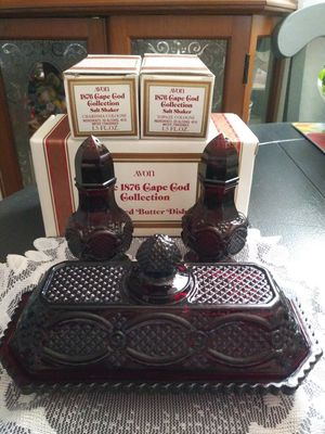 Vintage AVON Ruby Red Glass Covered Butter Dish & 2 Salt Shakers Perfume Bottles for Sale in Wilmington, CA
