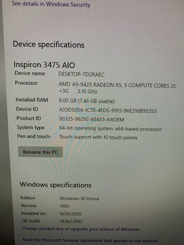 Dell Inspiron 24 inch 3475 All In One AIO Desktop Computer - includes wireless keyboard and mouse