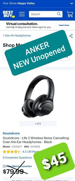 ANKER Soundcore wireless ANC Headphones for Sale in Phoenix, AZ