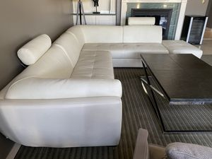 White leather sectional couch for Sale in Las Vegas, NV