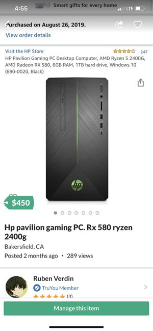 Gaming PC ryzen 5 2400g Rx 580 16gb ddr4 for Sale in Bakersfield, CA