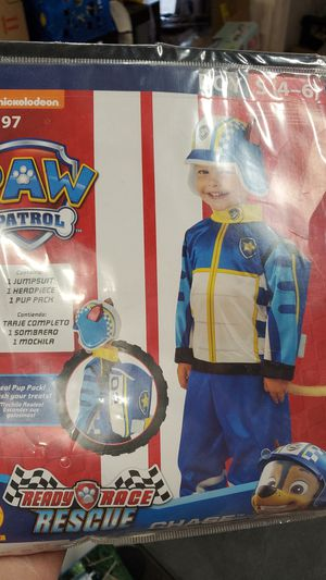 Paw Patrol ready race rescues boys costume size small for to 6 for Sale in Riverside, CA