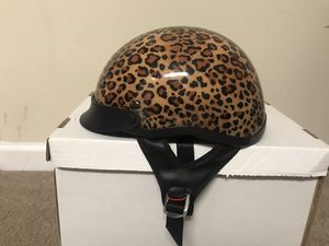 Half Helmet Ladies Size Small Motorcycle Biker Leopard Print DOT for Sale in Wake Forest, NC