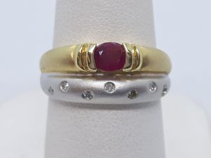 14k two tone Ruby and emerald ring 3.4 grams size 6 for Sale in Fort Pierce, FL