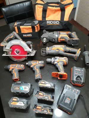 Ridgid power tool set and rolling tool box for Sale in Tucson, AZ