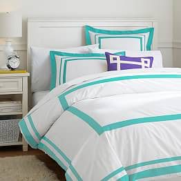 PB Teen Suite Organic Duvet Cover + Sham, color pool for Sale in Bristow, VA