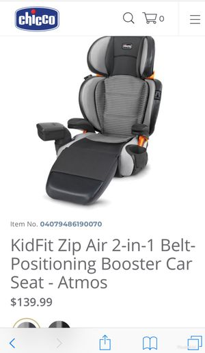 Chicco KidFit Zip Air 2-in-1 Belt positioning Booster Car seat for Sale in Mobile, AL