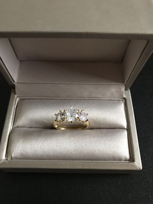 18K gold plated over 925 stamped sterling silver with sapphire promised engagement elegant ring size 7 for Sale in Addison, IL